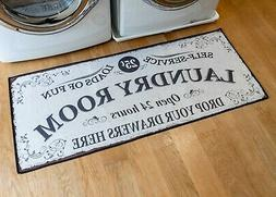 Grip-Back Woven Printed Rug, Laundry Room Mat Runner - Laund