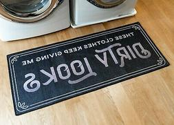 Grip-Back Woven Printed Rug, Laundry Room Mat Runner - Dirty