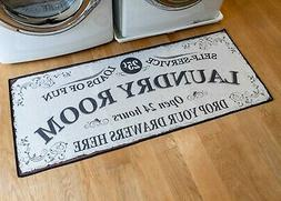 grip back woven printed rug laundry room