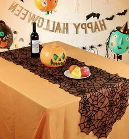 Halloween Black Lace Spider Web Table Runner Tablecloth Home