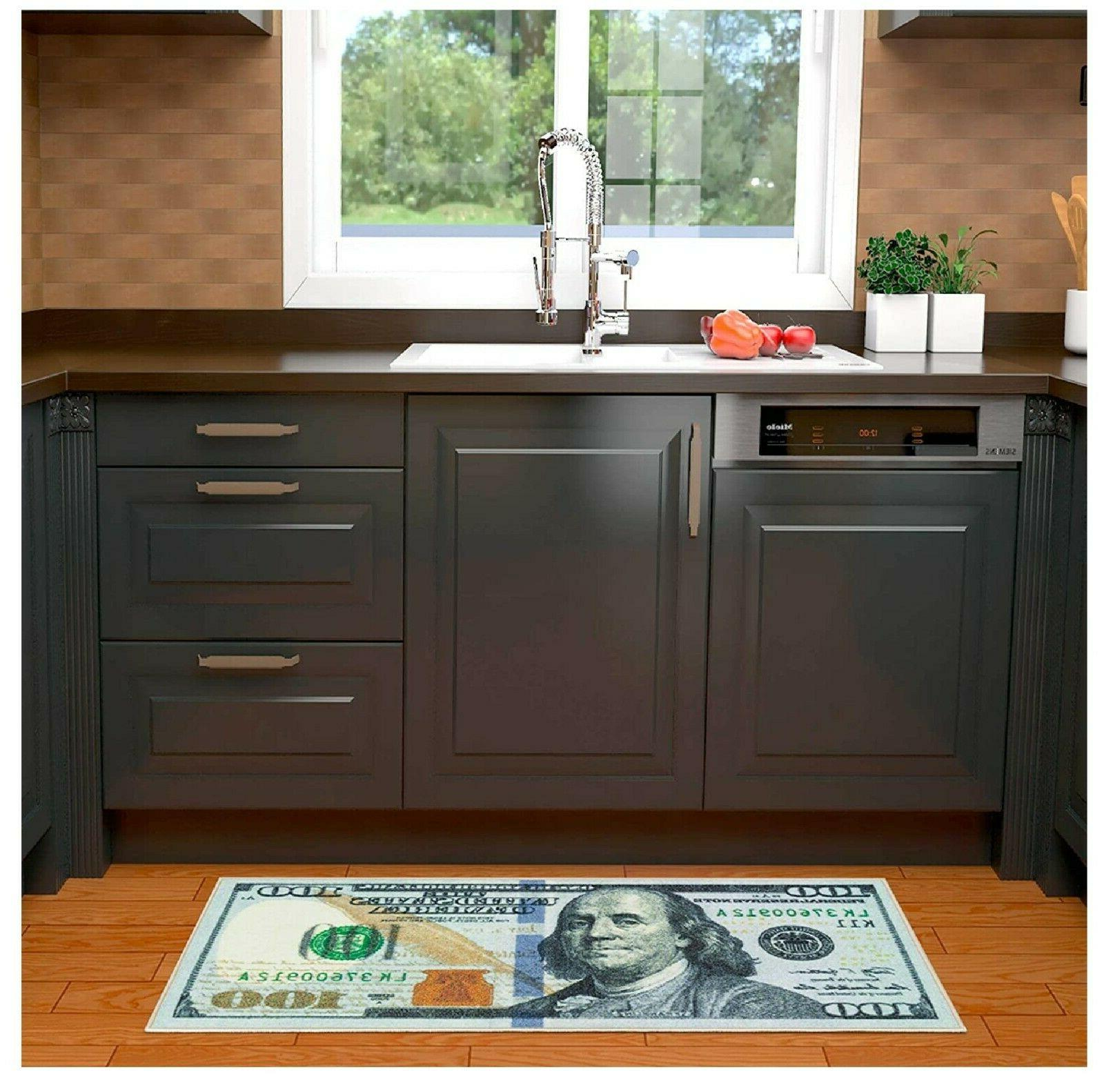 100 Dollar Bill Rug Nonslip Area Runner Kitchen Hallway Floor New