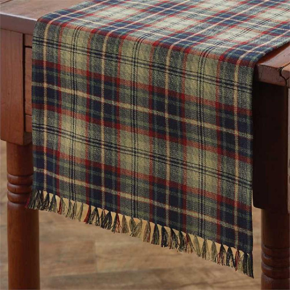 """Gray, Navy, Green, Red Plaid 13""""x54"""" Prim, Country, Park Des"""