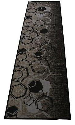 Anti bacterial Gray Hexagon Geometric Non Slip Runner Rugs R