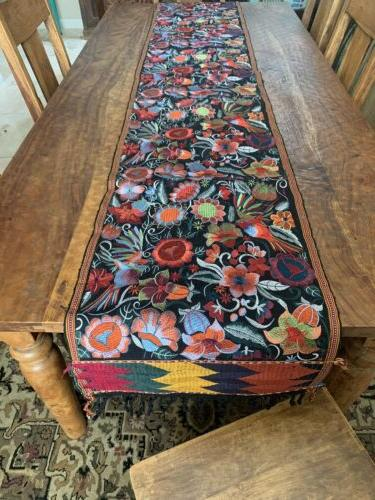 birds floral embroidered mexican table runner bohemian
