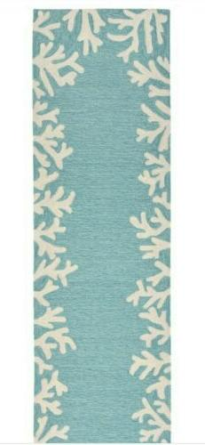 "Liora Manne Capri Coral Border Indoor/Outdoor Rug Aqua 24"" X"