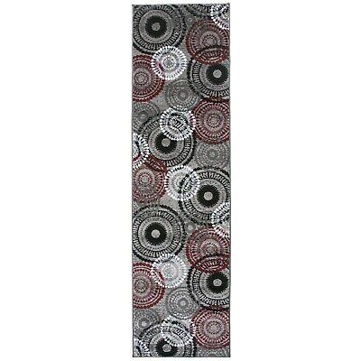 contemporary circles red runner rug 2 x