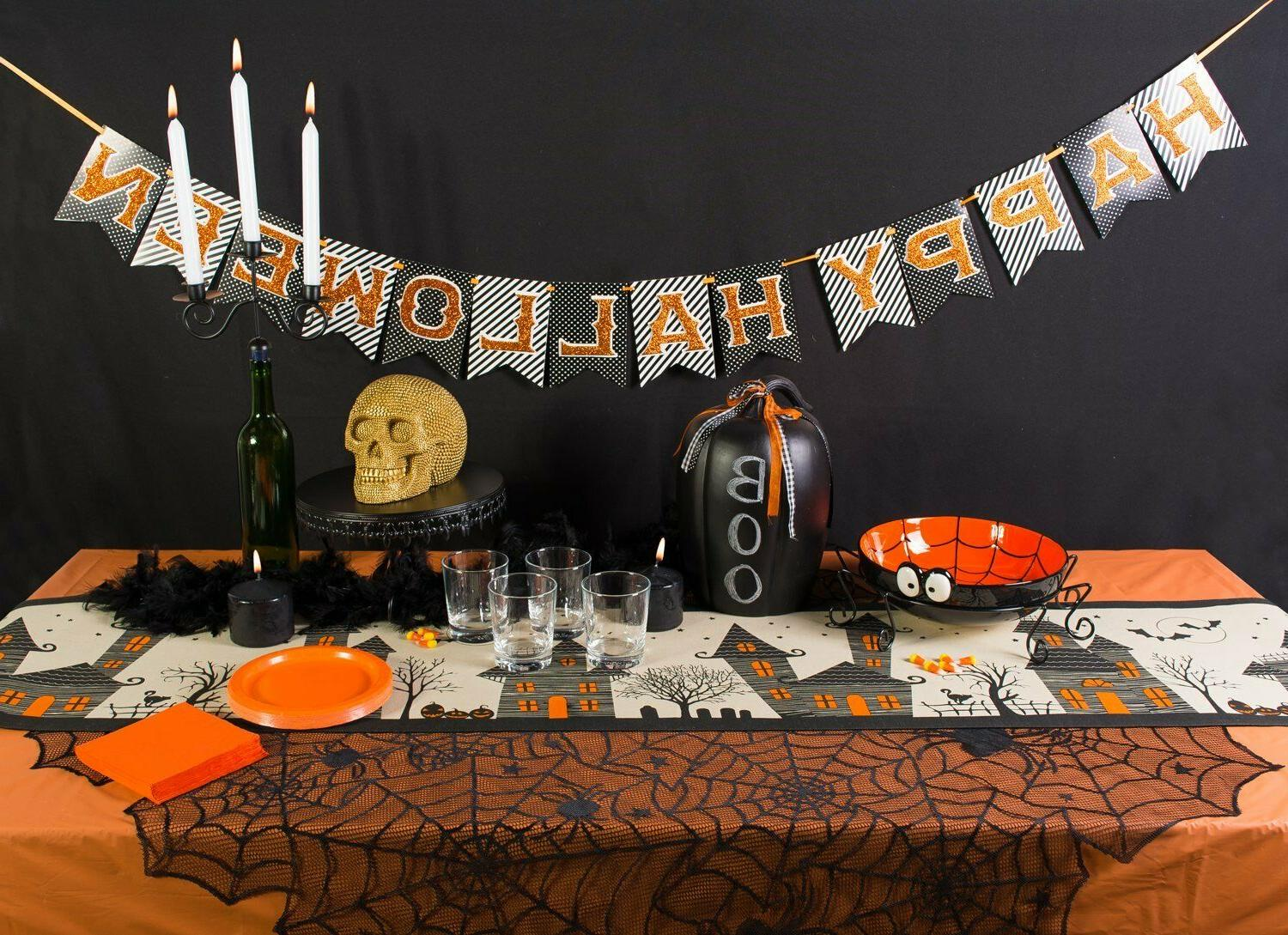 DII Cotton 14x72 Table Runner and Mats-Napkins Halloween