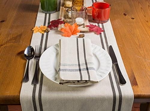"""DII 100% Washable, French Kitchen Table Runner Dinner 14x108"""" Black"""