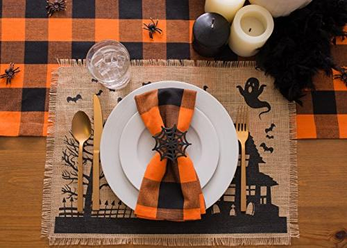 DII Cotton Buffalo Table Family Dinners or Indoor or & Orange Black