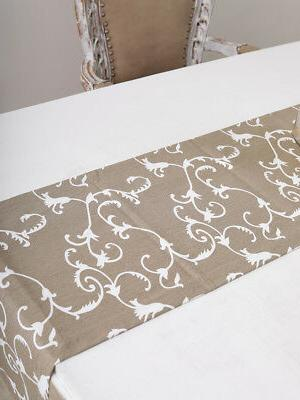 cotton table runner paisley beige
