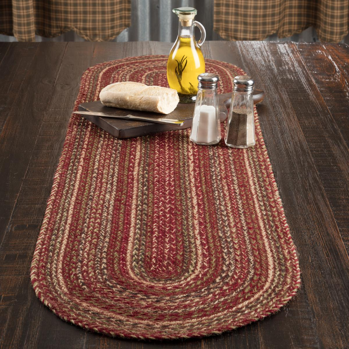 Cider Mill Farmhouse Braided Jute OVAL Table Runner/3 Sizes/