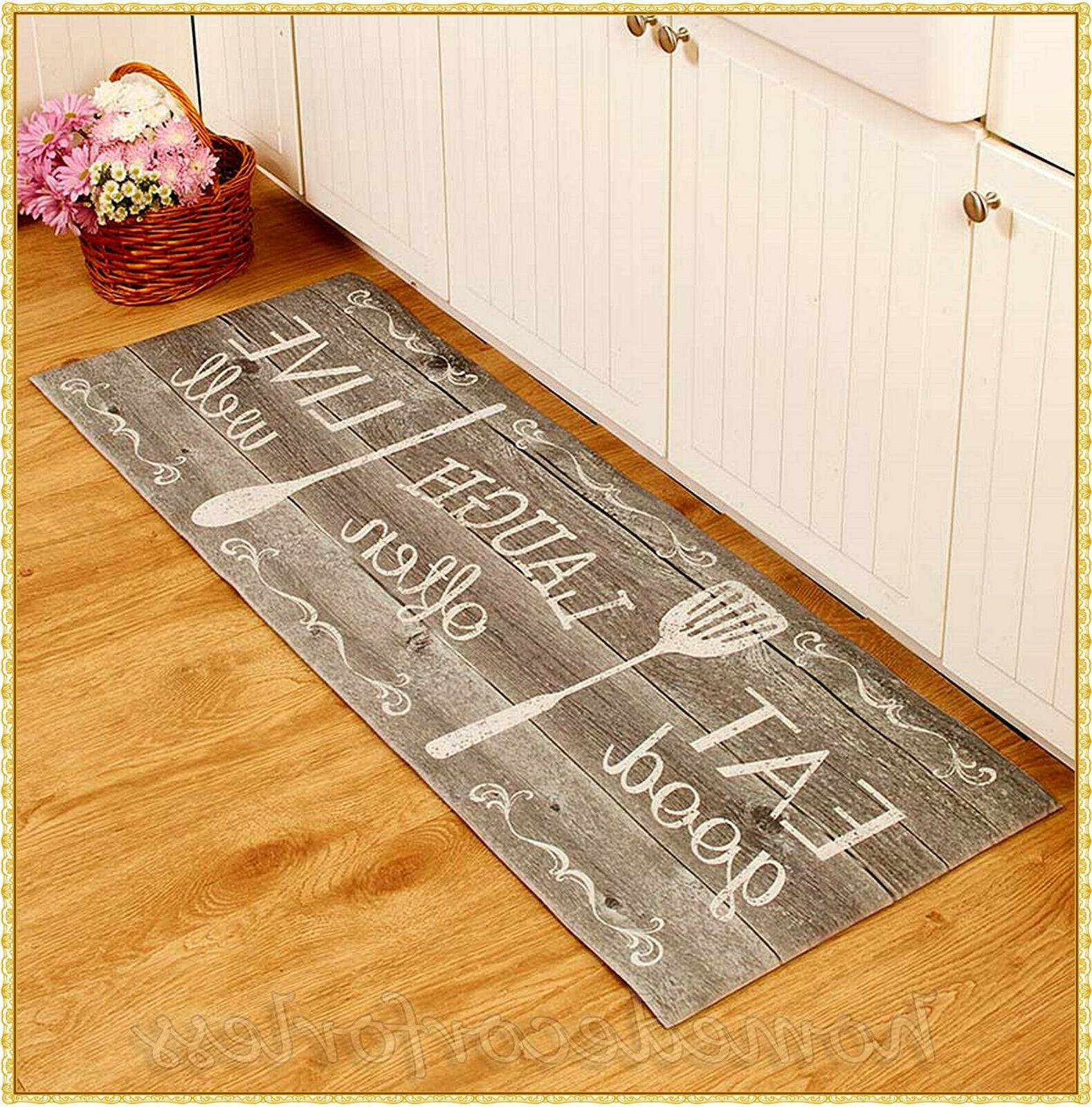EAT LAUGH LIVE Cushioned Soft Kitchen Runner Rug Mat Country