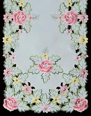 embroidered rose daisy floral placemat tablecloth runner