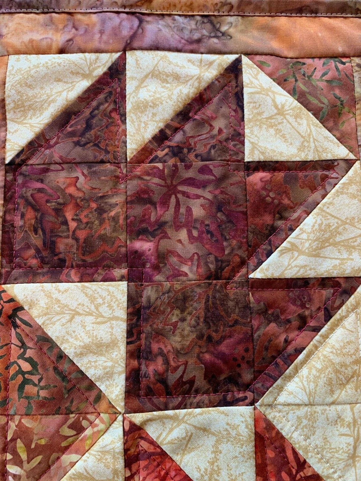 Fall Brown Maroon Orange Gold Quilted Table Topper Beige