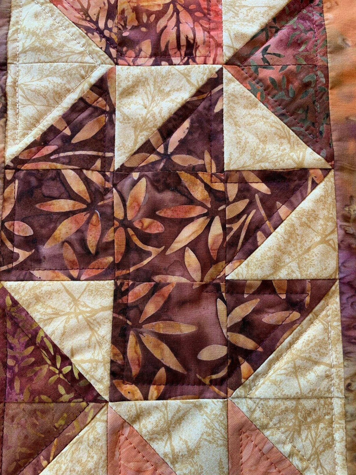 Fall Orange Gold Quilted Topper Beige Red