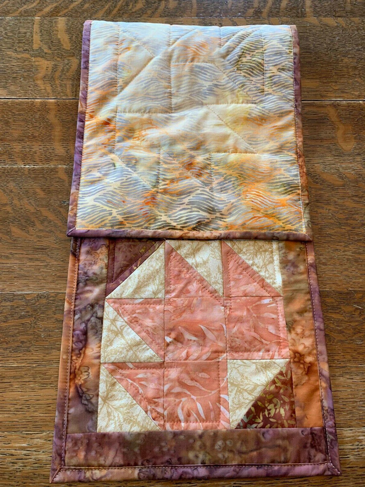 Fall Brown Orange Gold Quilted Topper Red
