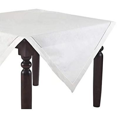 Fennco Styles Classic Solid Color Hemstitch Border Tableclot