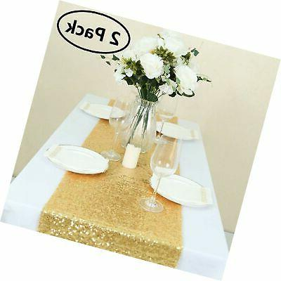 gold table runner 2pcs 12x108inch gold sequin