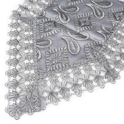 Gray Silver Paisley Polyester Table