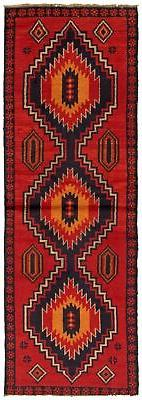 """Hand-knotted Afghan 2'6"""" x 7'10"""" Bordered, Geometric, Tribal"""