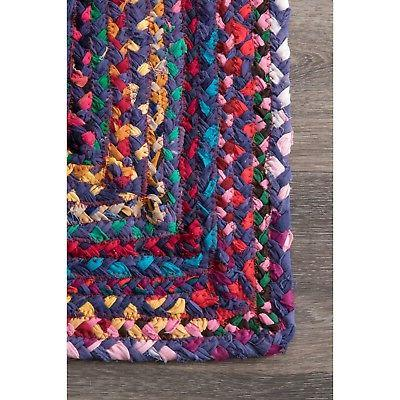 nuLOOM Made Braided Cotton in Blue, Chindi