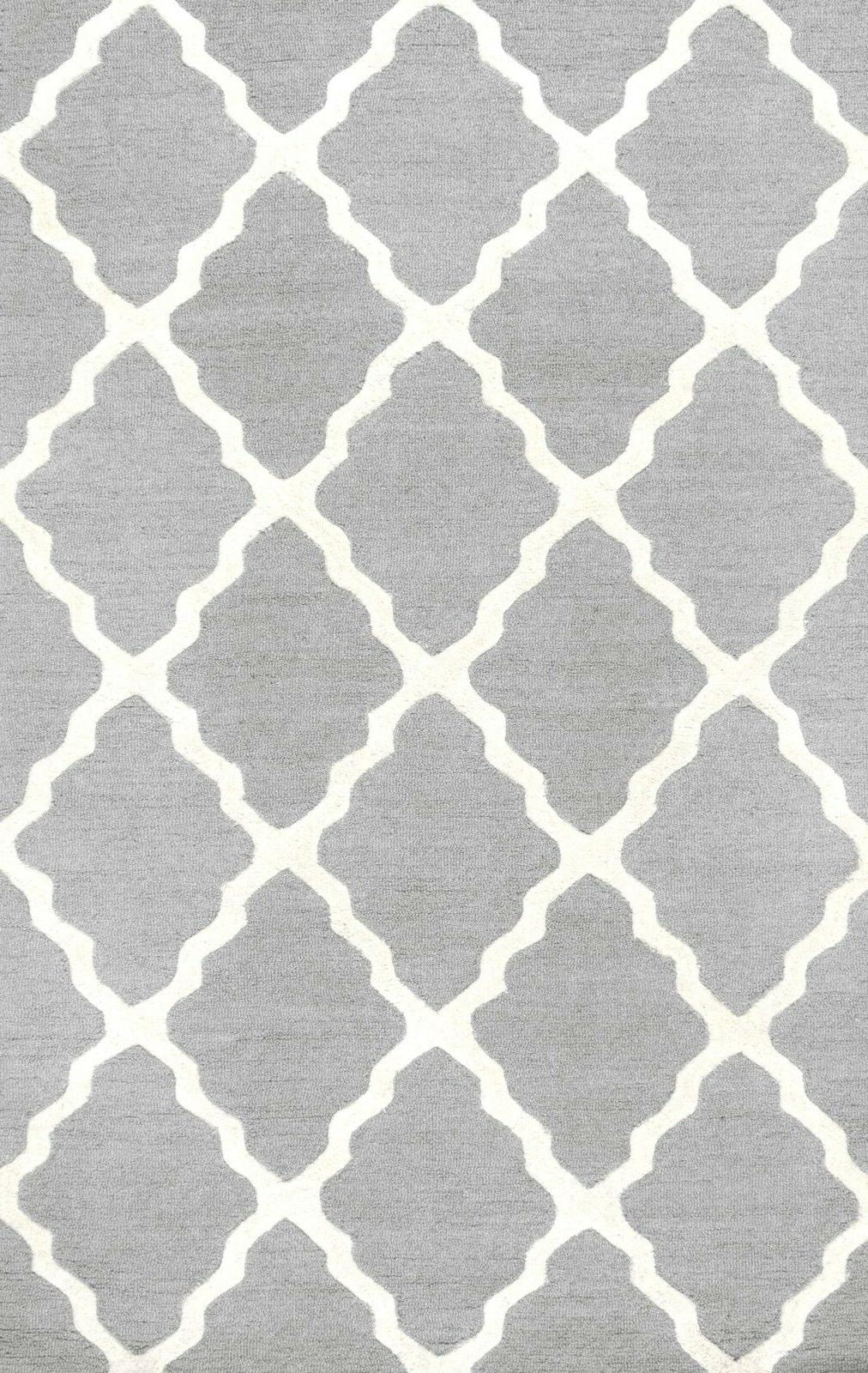nuLOOM Hand Made Geometric Rug in Grey and White