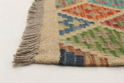 """Hand woven 2'7"""" x 9'10"""" Bold Colorful Wool Rug"""