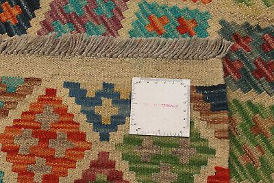 """Hand woven x 9'10"""" Bold and Colorful Kilim"""