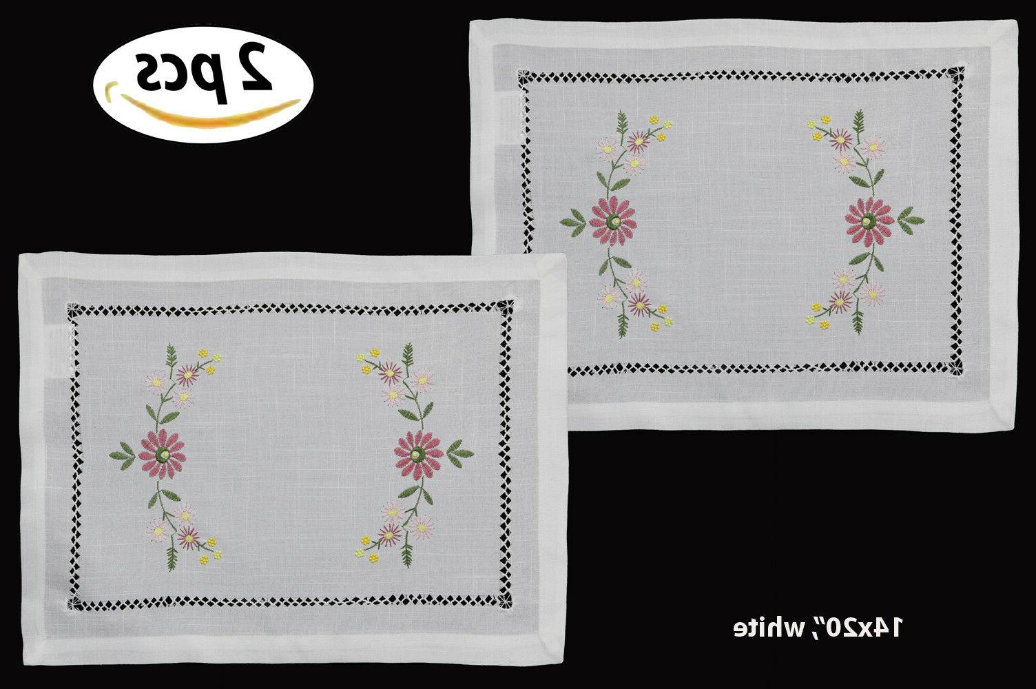 hemstitch embroidered daisy flower placemats table cloth