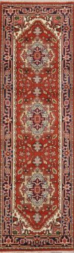 Heriz Serapi Geometric 9 ft  Runner Rug Wool Hand-Knotted Or