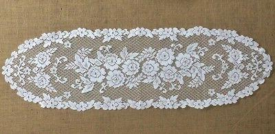 lace table runner white victorian rose 14