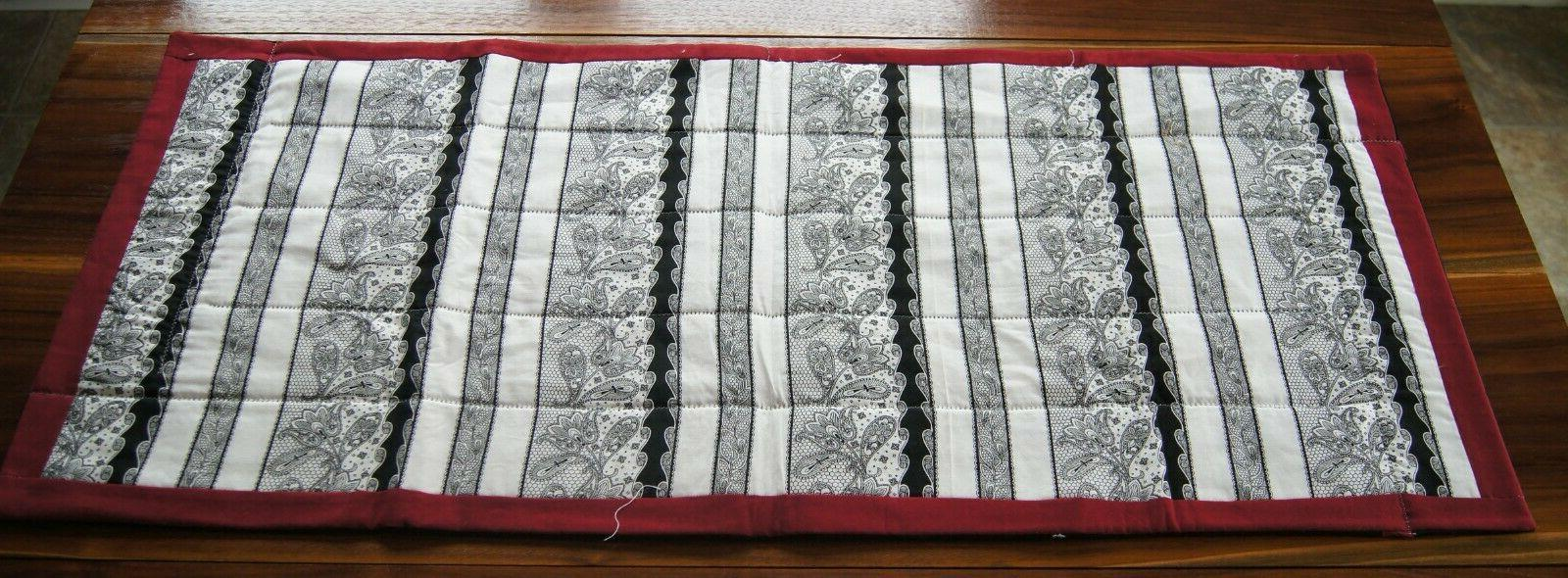 New! Handcrafted Black/White/Maroon Table Runner