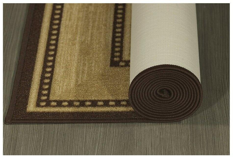 Non Slip Runners Long Hallway Area Rubber Brown