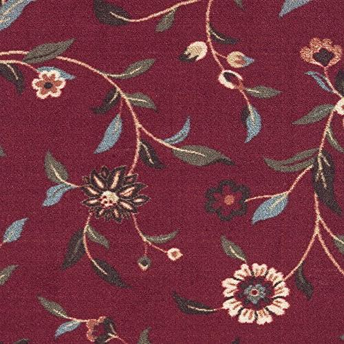 Ottohome Dark Red Floral Area Rug
