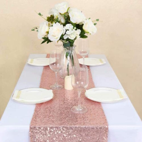 GFCC Pack of 10 12x72 Inch Rose Gold Sparkly Sequin Table Ru