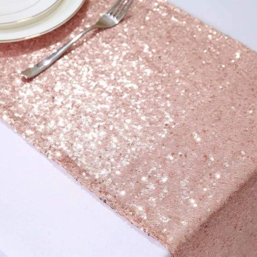 GFCC Pack 12x72 Inch Rose Sparkly Sequin Glitter Wedding