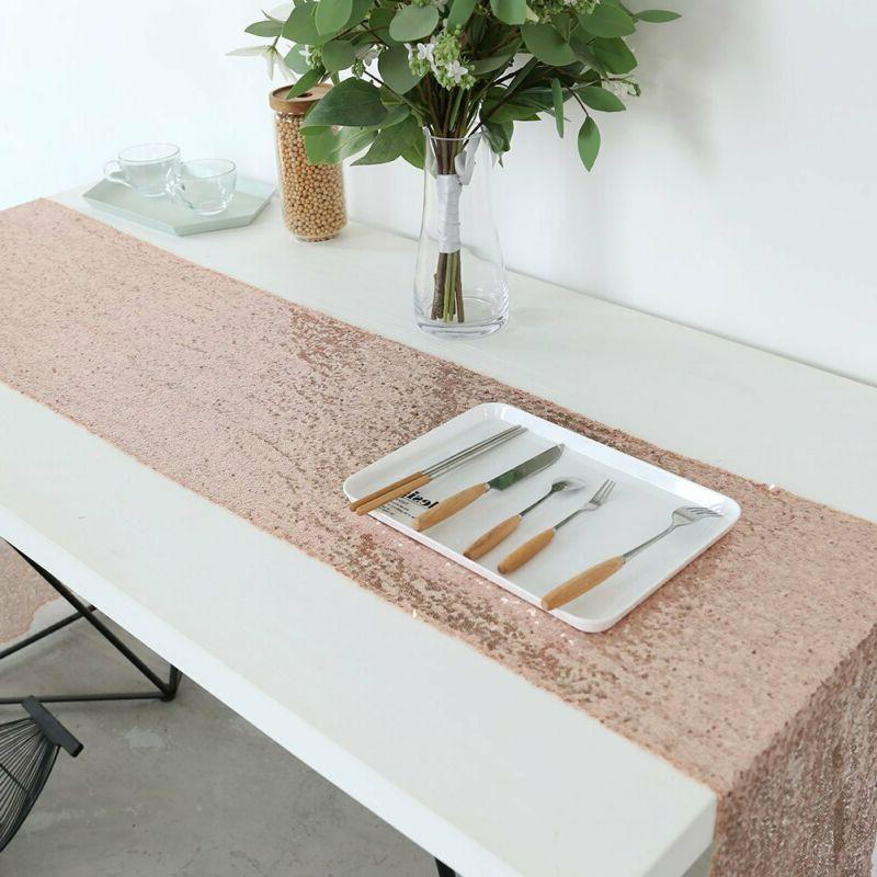 Gfcc Pack Of 10 Rose Gold Sequin Table Runners 12 X 108 Inch