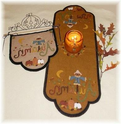 pattern scarecrow jack autumn table runner candle