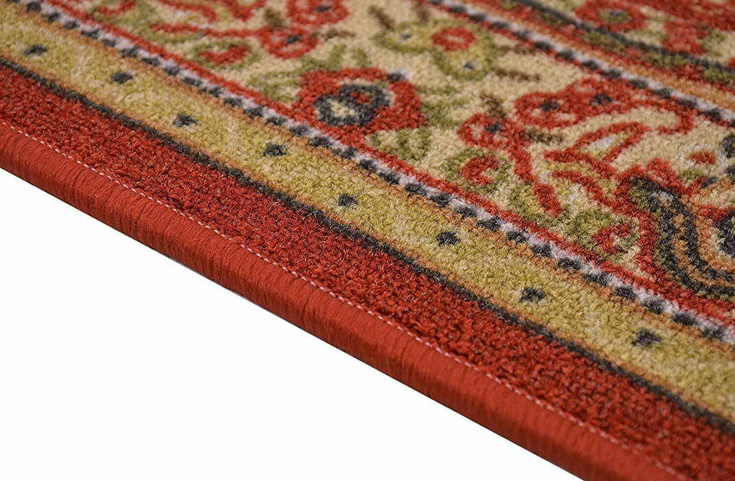 Oriental Antibacterial Medallion Red Non Skid Runner