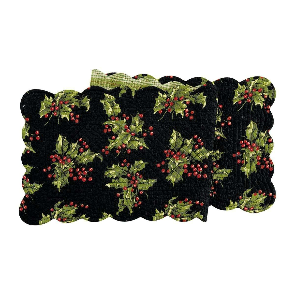 quilted reversible holly berry holiday