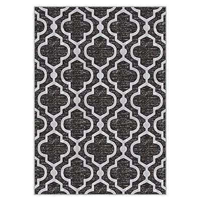 """Kapaqua Rubber Backed 3'4"""" x Rug Anthracite Moroccan Room"""