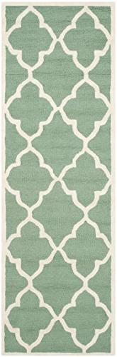 Runner Rug in Teal and Ivory