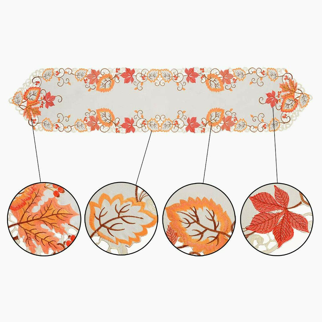 Simhomsen Thanksgiving Harvest Leaves Table Runners, Autumn Or