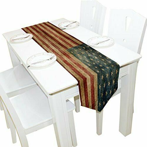 table runner american flag kitchen decor party