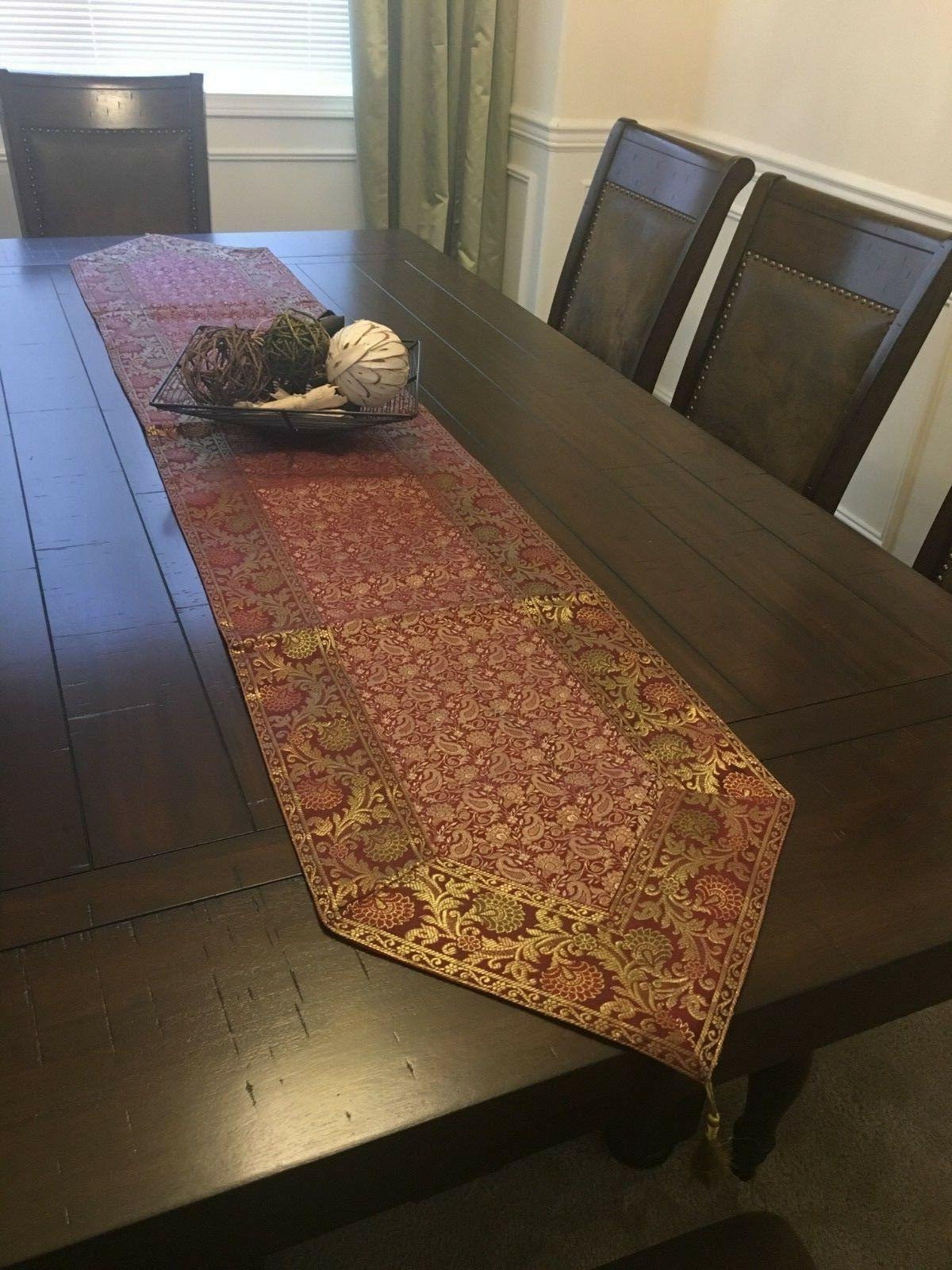 """Table Runner/wall Brocade, 14""""X 80"""", formal, Red"""