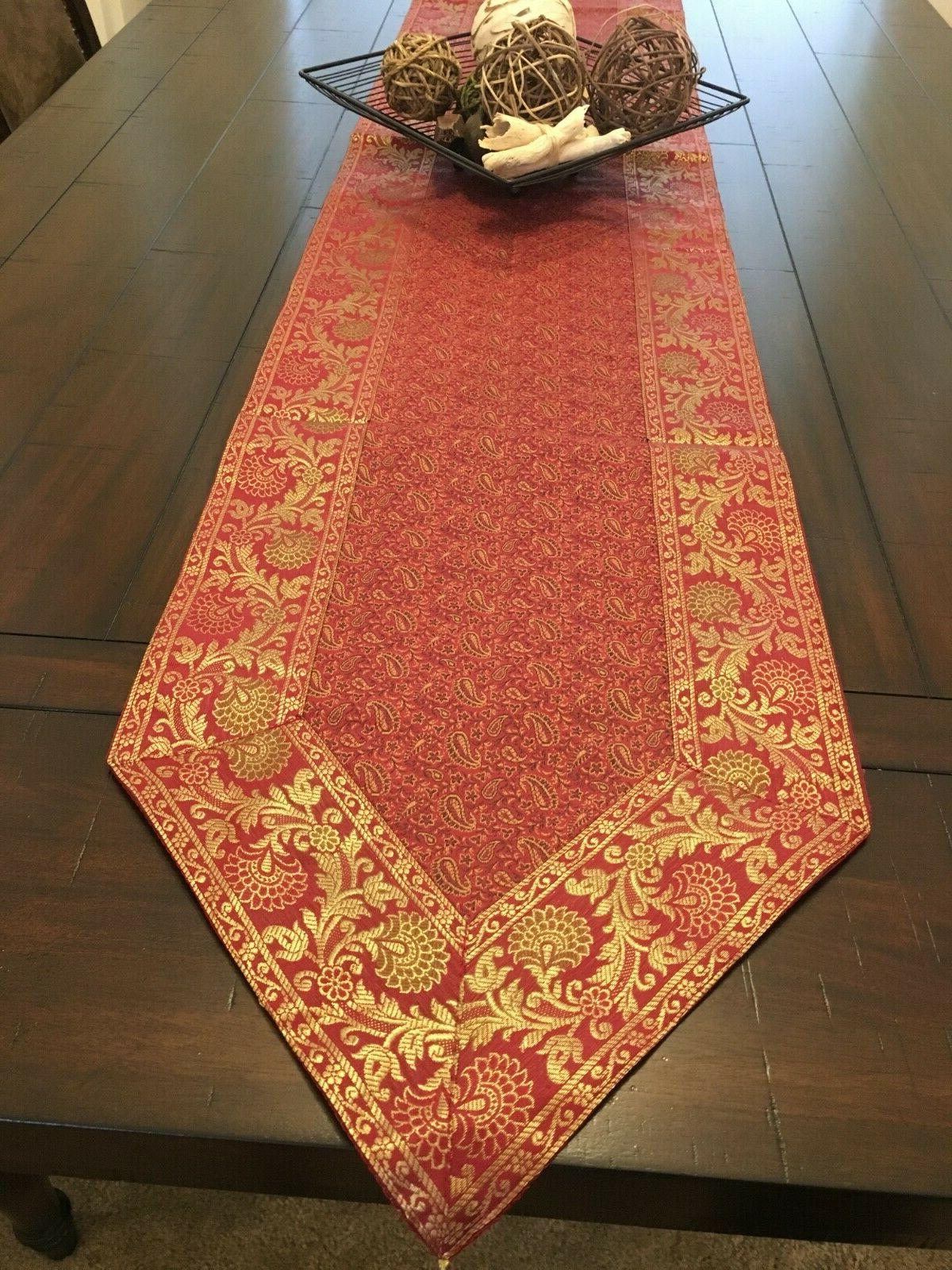 """Table Runner/wall 14""""X 80"""", Silk, formal, Red"""
