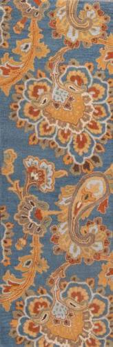 Traditional Floral Paisley Light Blue Runner Oriental Rug Wo