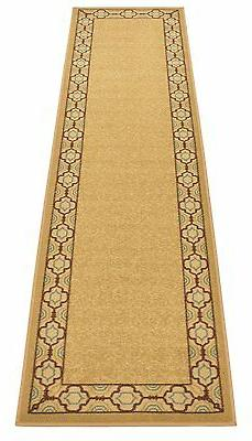 Trellis Border Runner Rugs Beige Non Slip Latex Backing Runn