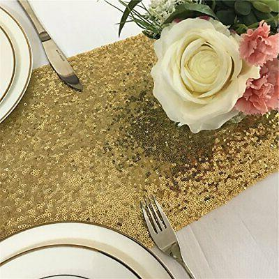 TRLYC 12x90-Inch Sparkly Gold Sequin Table runner for Wedding
