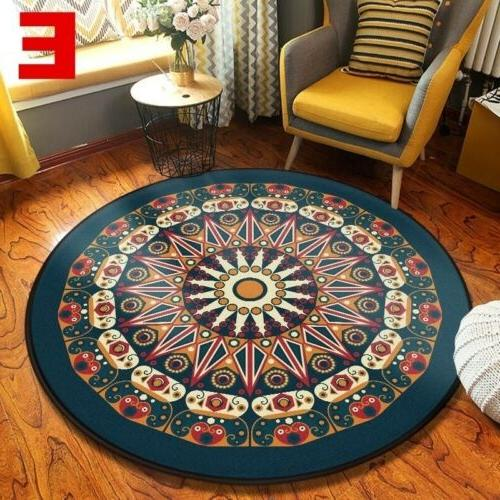Wool Round Rug Traditional Soft Mat Washable Rug